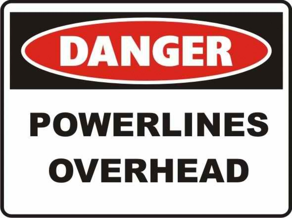 Danger Powerlines Overhead sign